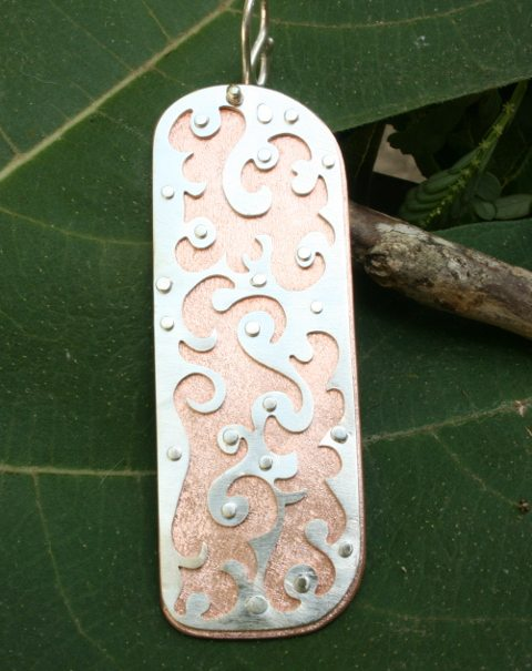 "<p style=""text-align: center;""><span style=""font-size: 12pt;""><strong>Freeform Copper Silver Pendant</strong></span></p>"