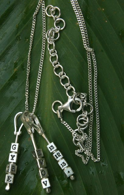 "<p style=""text-align: center;""><span style=""font-size: 12pt;""><strong>Letter Cube Pendants<br> and Chain</strong></span></p>"